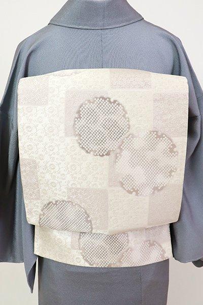 銀座【L-5444】袋帯 白練色 変わり市松に雪輪文