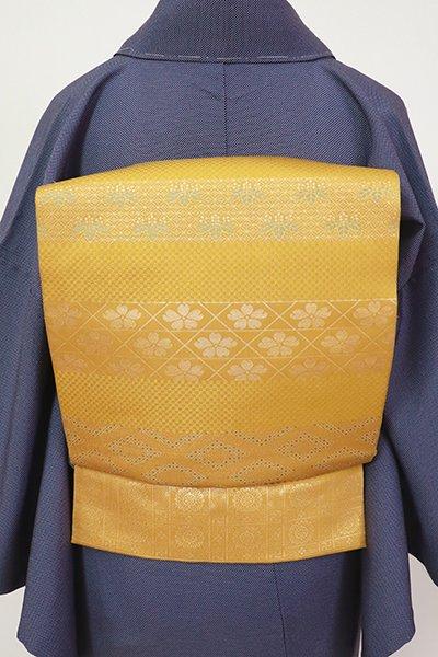 銀座【L-5446】西陣 川島織物製 袋帯 山吹茶色 横段に有職文など(落款入)
