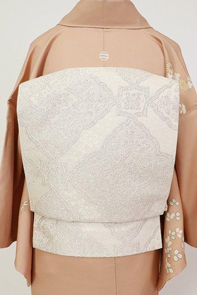 銀座【L-5447】西陣製 袋帯 白色 装飾菱文(証紙付)