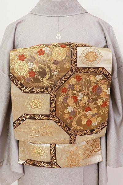 銀座【L-5451】西陣 加納幸製 袋帯 金色 蜀江文(落款入・三越扱い)