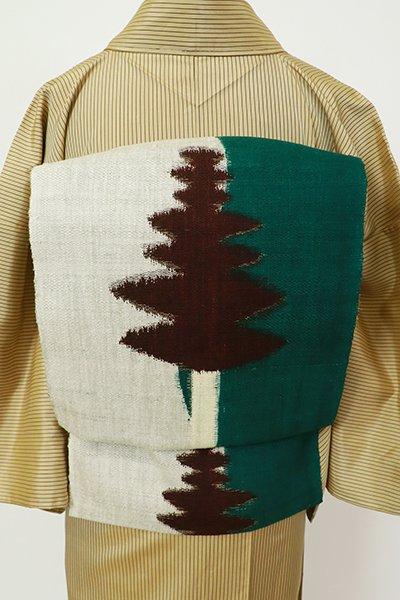 あおき【K-7244】紬地 八寸名古屋帯 鉄色×白練色 針葉樹の図