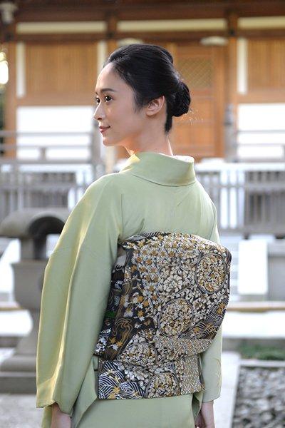 銀座【帯3677】西陣 河合美術織物製 袋帯 (反端 証紙付)