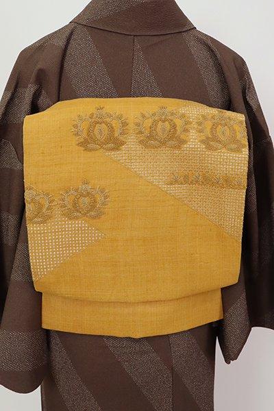 あおき【K-7249】紬地 蘇州刺繍 名古屋帯 柑子色 装飾花文(反端付)