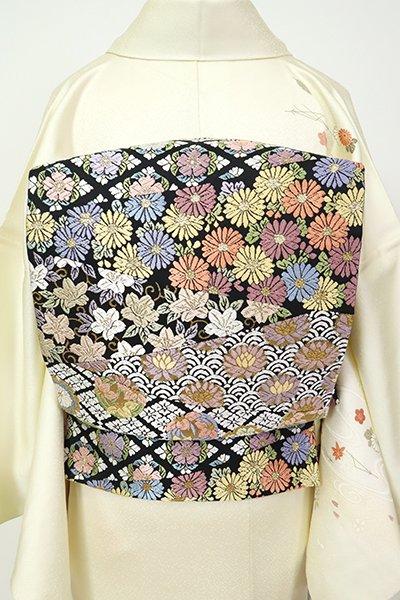 銀座【L-5457】袋帯 黒色 切り嵌めに四季花や割付文など