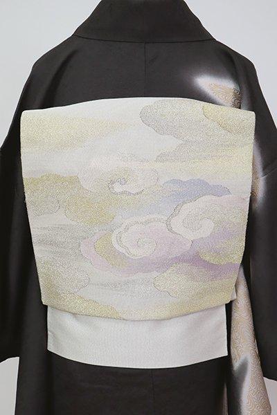 銀座【L-5459】綴れ織り 袋帯 白色 霞に雲文(大丸扱い)