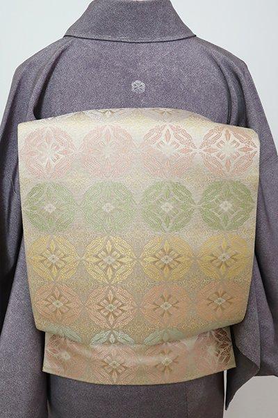 銀座【L-5460】西陣 陰山織物製 箔屋清兵衛 袋帯 亜麻色 鳥襷文(落款入)