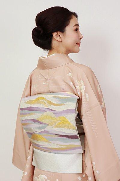 銀座【L-5463】綴れ織り 袋帯 銀色 遠山文