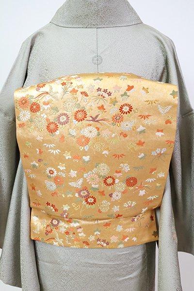 銀座【L-5468】西陣 本家加納製 袋帯 杏色 秋草の図(落款入)