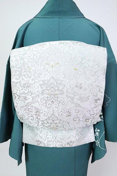 銀座【L-5470】西陣 洛陽織物製 袋帯 乳白色 装飾唐花文(落款入)