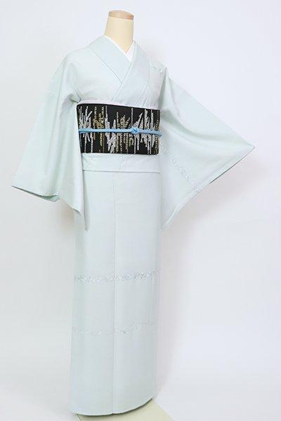 銀座【B-2819】(細め)紬地 刺繍 付下げ 藍白色 装飾花文