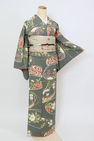 銀座【D-2716】小紋 柳煤竹色 流水に四季花の図