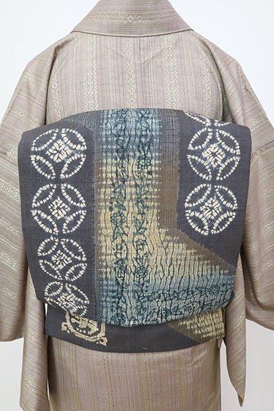 銀座【K-7255】紬地 絞り染 名古屋帯 鉛色 七宝文