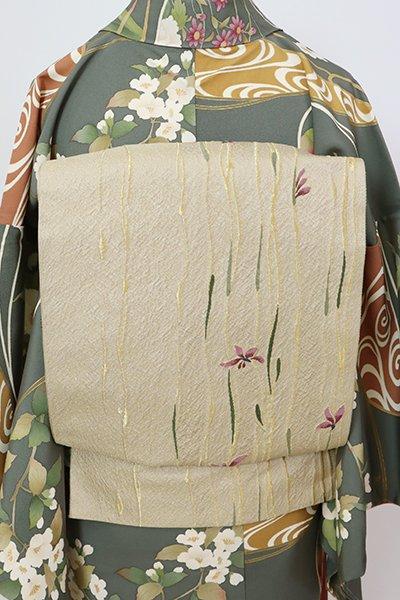 銀座【L-5472】袋帯 白橡色 花の図