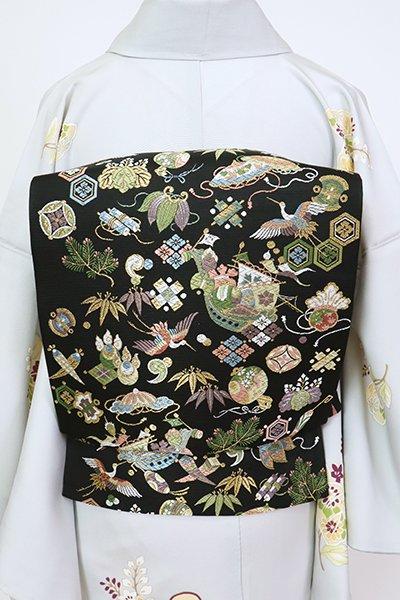 銀座【L-5473】西陣 山下織物製 袋帯 黒色 宝尽くし文(証紙付)(N)