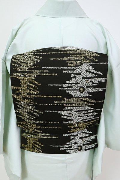 銀座【L-5475】袋帯 黒色 抽象文