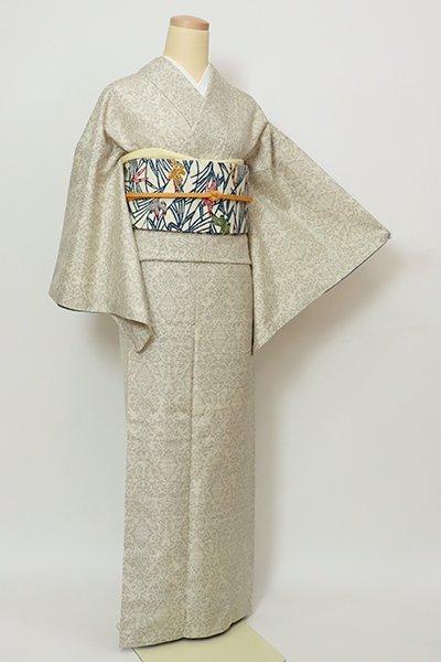 銀座【A-3279】(細め)塩沢紬 絹鼠色 装飾幾何文(証紙付)