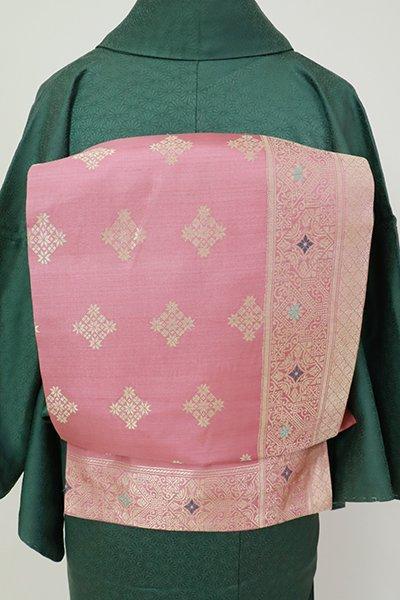 銀座【K-7260】インドシルク 織名古屋帯 長春色 更紗文