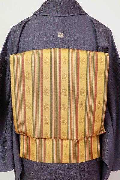 銀座【K-7262】織名古屋帯 玉蜀黍色 名物裂文(長尺)