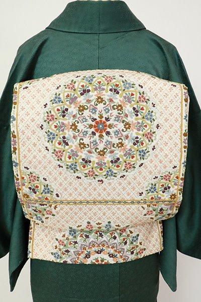 銀座【L-5478】相良刺繍 袋帯 生成り色 華文
