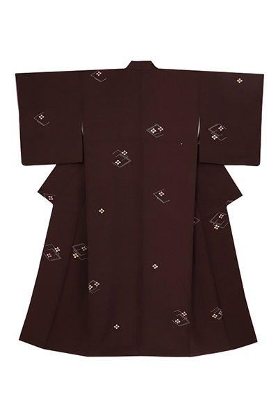 銀座【着物3016】銀座 泰三製 小紋 赤墨色 花菱文 (反端付 畳紙付)