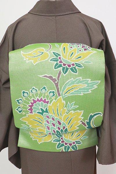 銀座【L-5482】袋帯 若葉色 唐花文