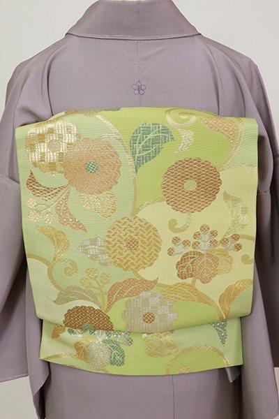 銀座【L-5483】西陣 川島織物製 本袋帯 若葉色 菊や桐の図(落款入)