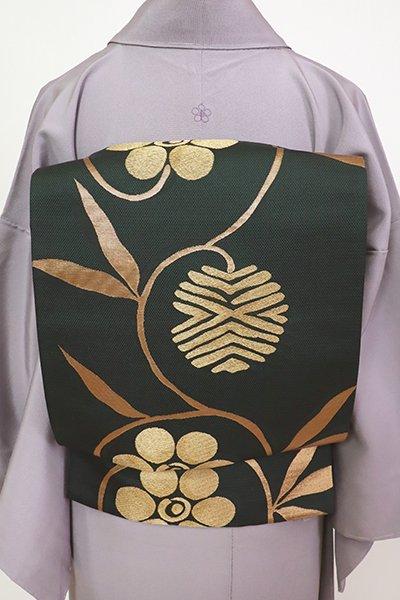 銀座【L-5484】袋帯 深い仙斎茶色 笹蔓文