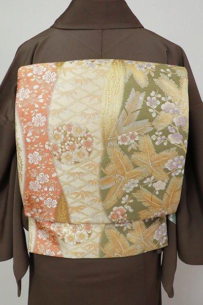 銀座【L-5485】袋帯 練色 流線に松竹梅など