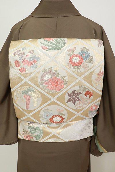 銀座【L-5486】袋帯 白練色 斜め格子に四季花の丸文