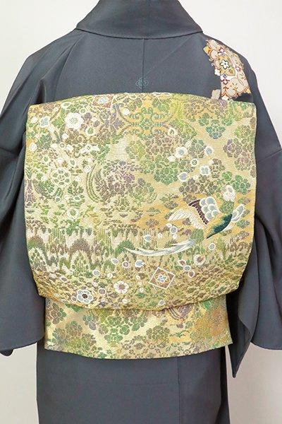 銀座【L-5487】袋帯 枯草色 花に鳳凰の図(三越扱い)