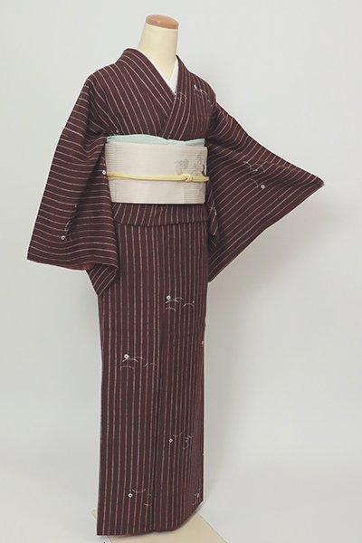 銀座【D-2720】絞り染め 紬地 小紋 紫鳶色 縞に露芝文
