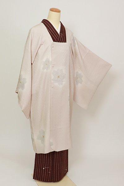 銀座【E-1353】道行コート 灰桜色 桜の図(反端付)