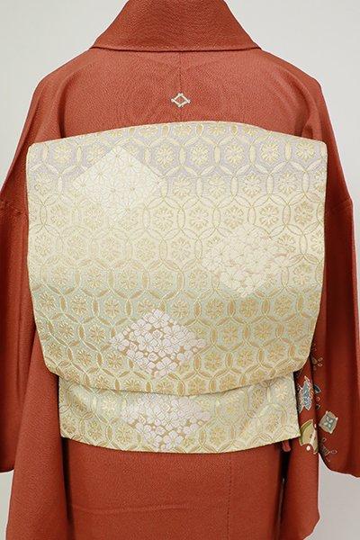 銀座【L-5489】袋帯 鳥の子色 花菱七宝文
