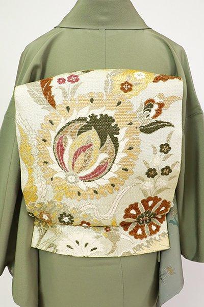 銀座【L-5490】袋帯 練色 唐花の図