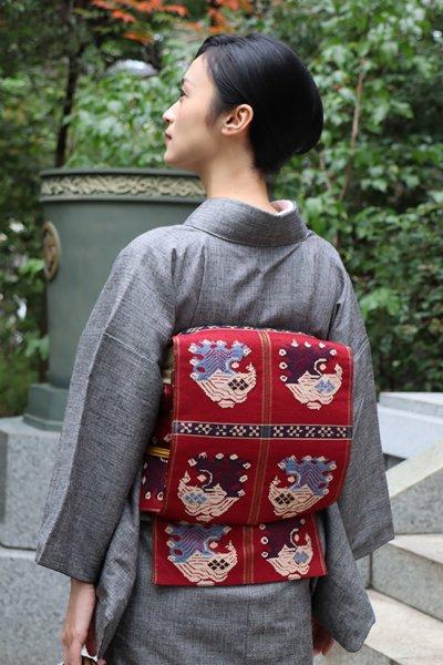銀座【帯3703】龍村平蔵製 本袋帯 銘「甲比丹孔雀」(高島屋扱い)