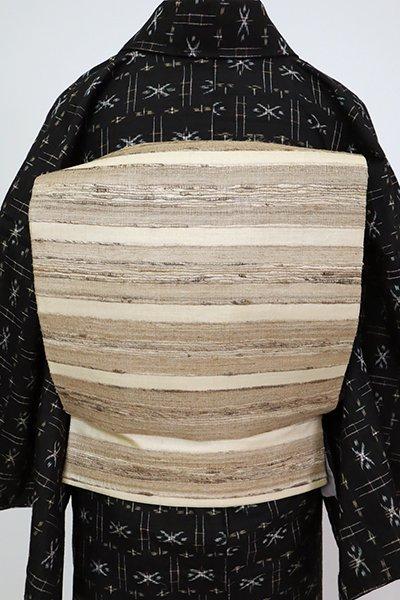 あおき【L-5493】野蚕糸紬地 洒落袋帯 練色 ナチュラルな横段