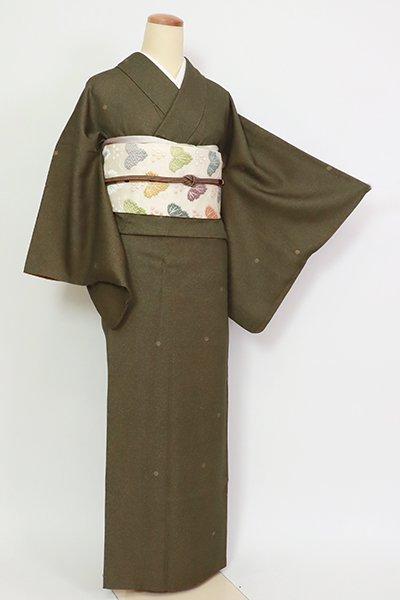 あおき【D-2722】人間国宝 中村勇二郎 小紋 海松色 花唐草文(落款入)
