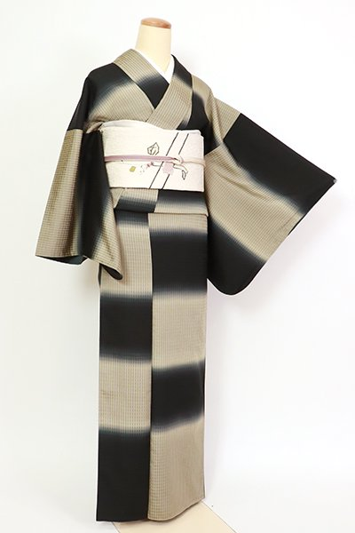 あおき【D-2723】小紋 黒色×白橡色 横段