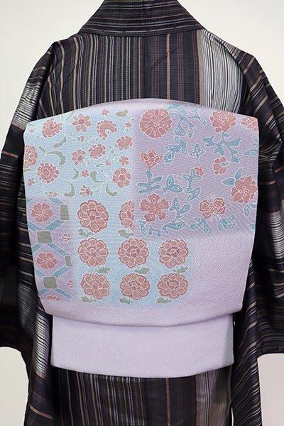 あおき【K-7269】縮緬地 染名古屋帯 半色 花唐草の図