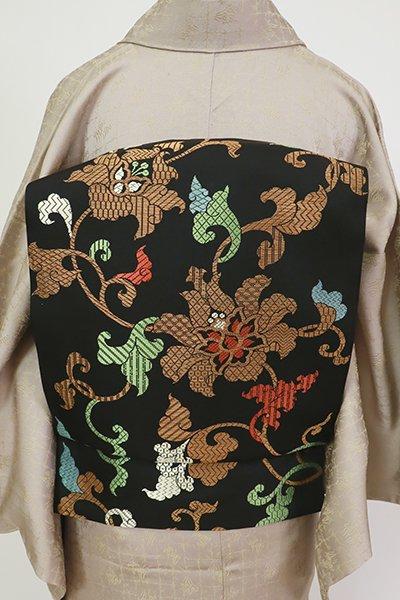 あおき【L-5499】西陣 川島織物製 本袋帯 黒色 花唐草の図(落款入)