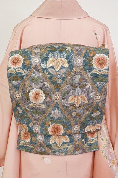 あおき【L-5500】刺繍 袋帯 紺鼠色 立涌に花の図