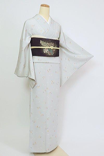 あおき【D-2724】小紋 白花色 流水に桜文(反端付)