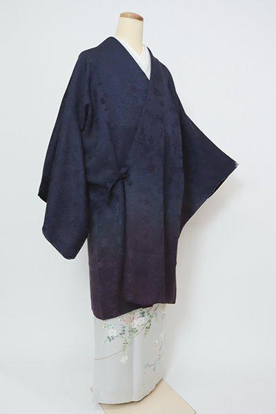 あおき【E-1354】リバーシブル 道中着 濃藍色×深紫色 裾暈かし