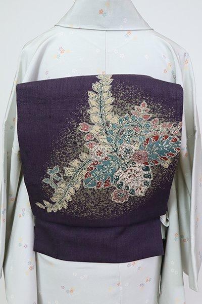 あおき【K-7271】紬地 染名古屋帯 滅紫色 桐の図