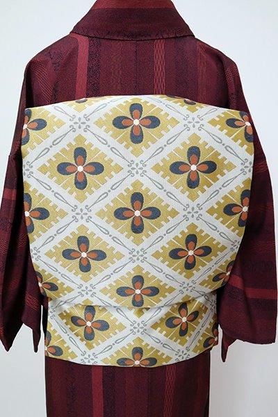 あおき【K-7272】織名古屋帯 白鼠色×山吹茶色 斜め格子に花文