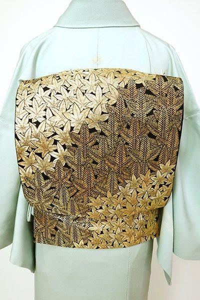 あおき【L-5503】袋帯 金色 楓と松の図