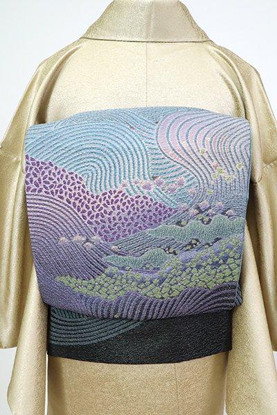 あおき【L-5505】洒落袋帯 秘色色 波文(落款入)