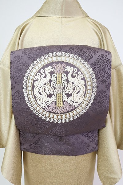 あおき【L-5506】袋帯 葡萄鼠色 双龍円珠文様(銀座越後屋扱い)