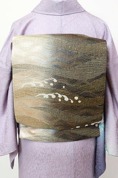 銀座【L-5509】袋帯 黒色×生成り色 竪暈かしに波の図