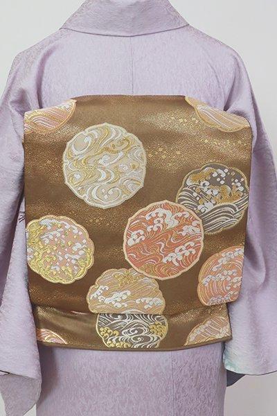 銀座【L-5510】藤井寛作 袋帯 煎茶色 鏡裏文や雪輪文(落款入)